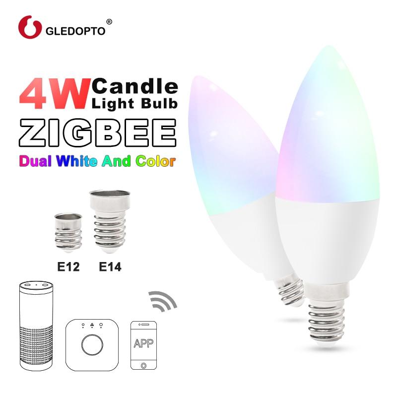 Zigbee rgb led candlelight app controle inteligente trabalho with3.0 gateway smartthings 4w rgbw branco quente branco fresco led e12 e14 tapy