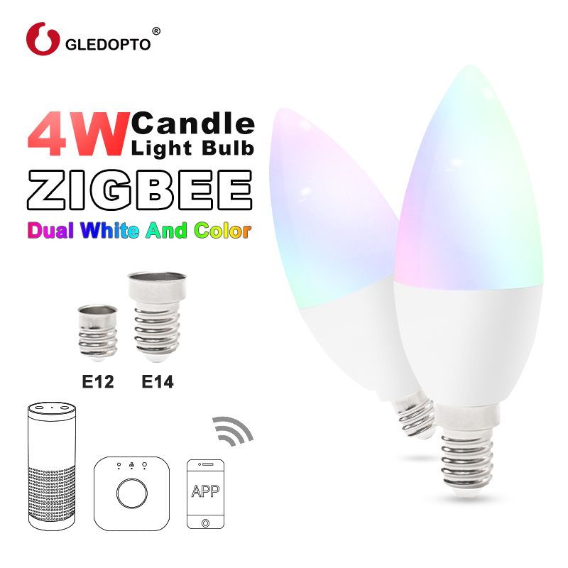 Zigbee Rgb Led Candlelight  APP Smart Control Work With3.0 Gateway Smartthings 4w Rgbw  Warm White Cool White LED E12 E14 Tapy