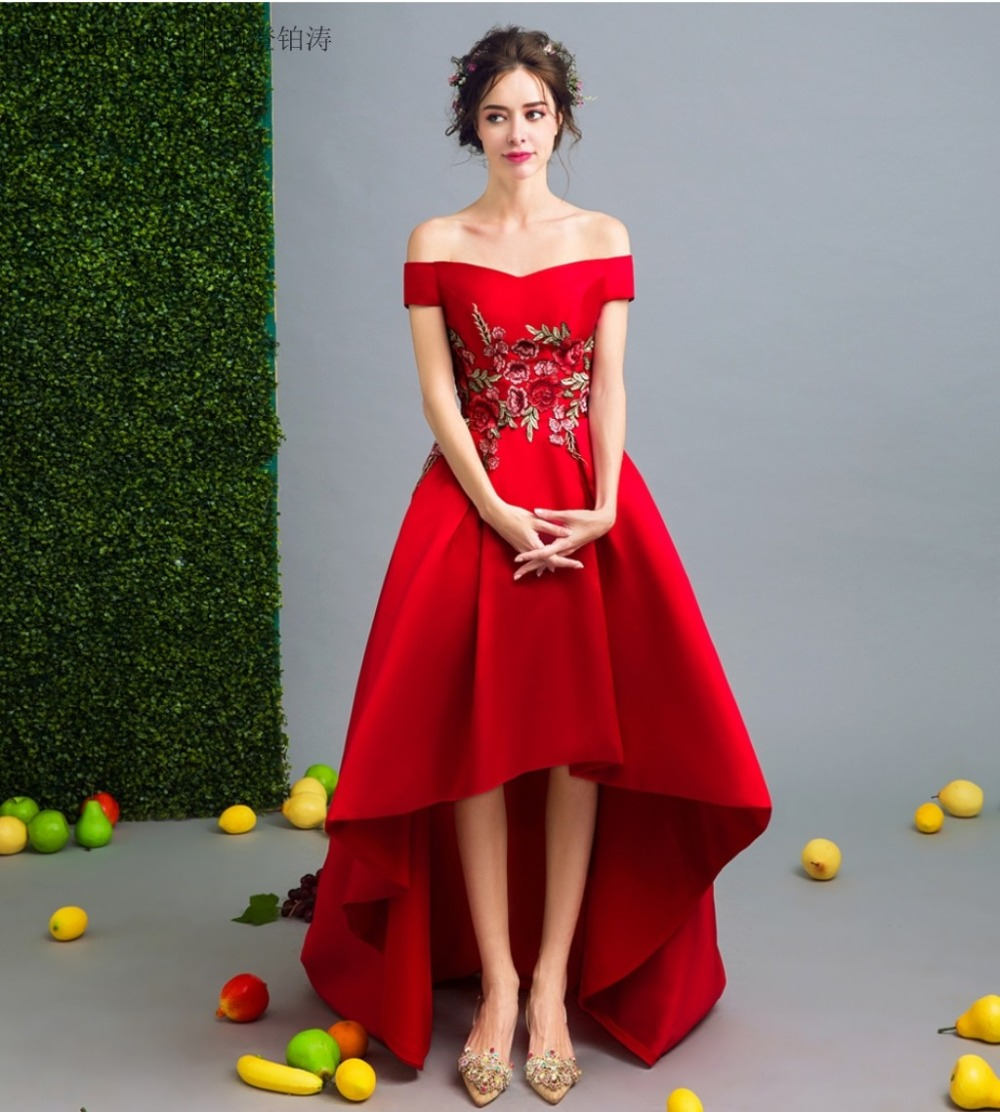 Online get cheap red short bridesmaid dresses embroidery appliques red flower appliques high low bridesmaid dress short sleeve off shoulder bridesmaid dress long 2017 ombrellifo Image collections
