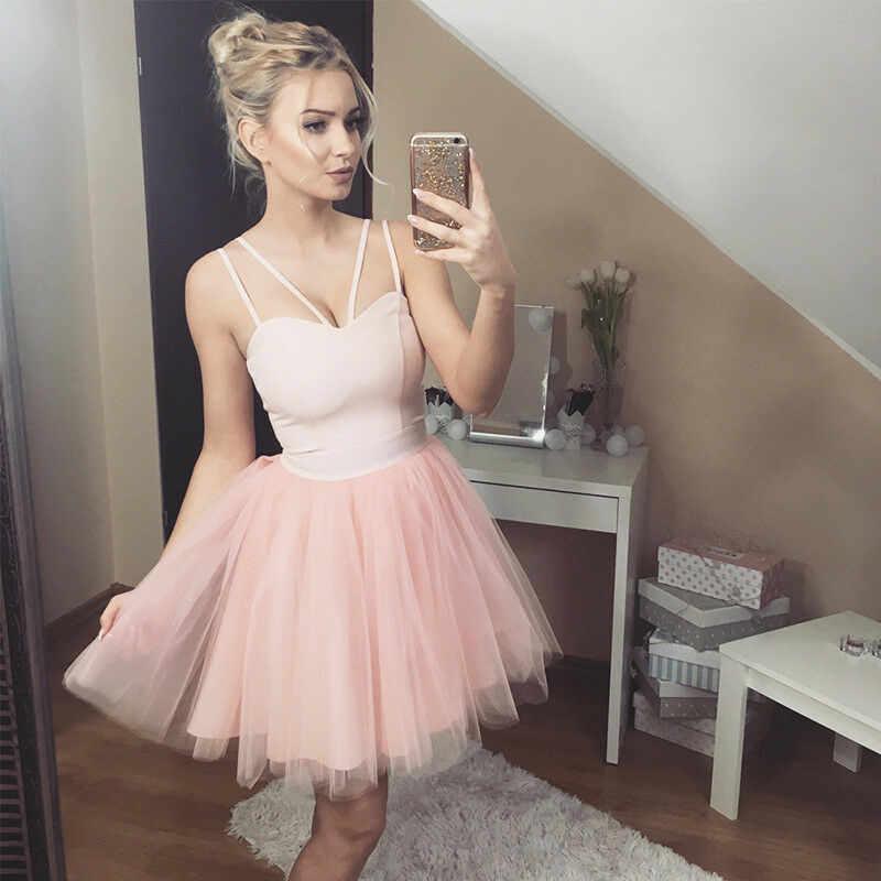 TOP Vrouwen Bruidsmeisje Korte Tulle Tutu Jurken Party Ball Prom Gown Sexy Mesh Stiksels Sling Hoge Taille Solid Korte Jurk