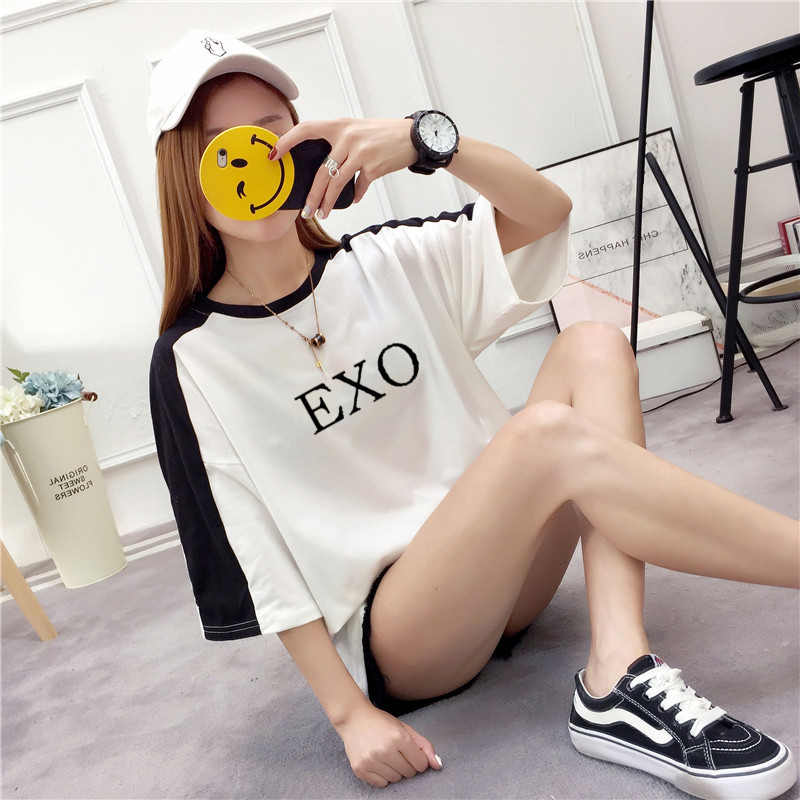 Ulzzang Shirt Harajuku Kawaii Tshirt Women Cotton Top Tees 2018 Summer Plus Size Kpop EXO Kpop T-Shirt Female Streetwear Shirt