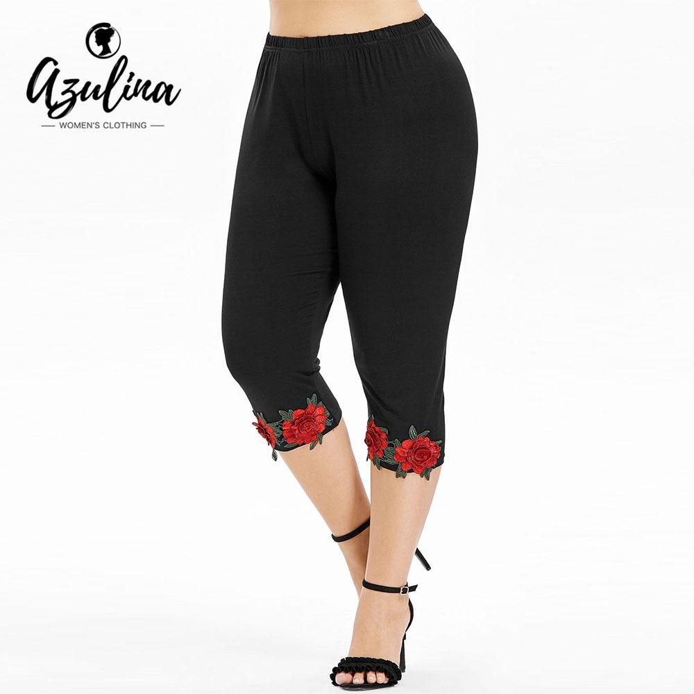 Rosegal Plus Size High Waist Cropped   Leggings   Women Pant Capri Casual Black Flower Appliques Pencil Pants 2018 Womens Trousers