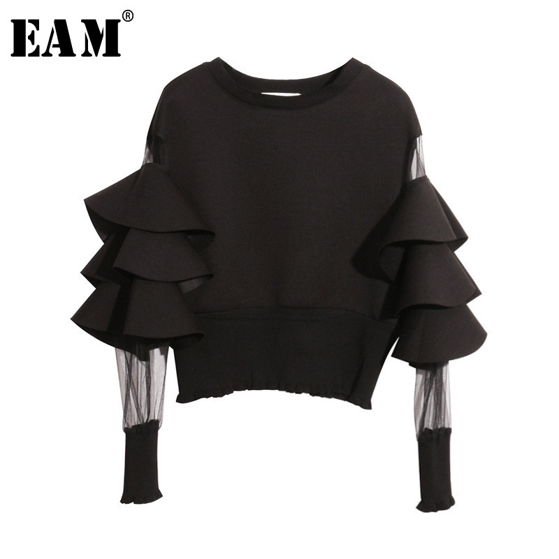 [EAM] 2019 New Spring Round Neck Long Sleeve Solid Color Gauze Split Joint Loose Sweatshirt Women Fashion Tide JC509
