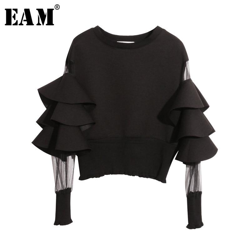 [EAM] 2019 New Spring Round Neck Long Sleeve Solid Color Gauze Split Joint Loose Sweatshirt Women Fashion Tide JC509