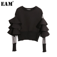 Split-Joint Loose Sweatshirt EAM Long-Sleeve Round-Neck Women Fashion New Solid Spring