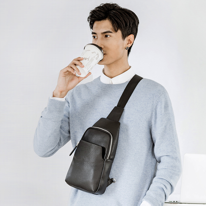 Image 5 - Xiaomi Mijia Youpin Fashion VLLICON Casual Men's Suede Leather Chest Bag Shoulder Bag 190*80*320mm-in Bags from Consumer Electronics