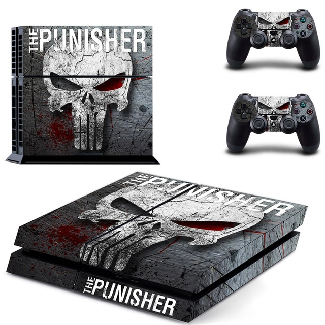 Decal PS4 Skin Sticker for Sony Playstation 4 Console and 2Pcs Controller Protective Skins - Punisher