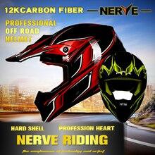 NERVE 12K carbon fiber off road helmet motorcycle motorbike Capacete Casco helmet, ECE Protective Gear,dirt biker, downhill road