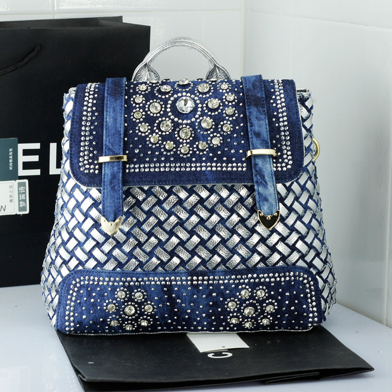 ФОТО New fashion washed denim jean diamond backpack multifunctional shoulder carry school bag PU knitted travel bags