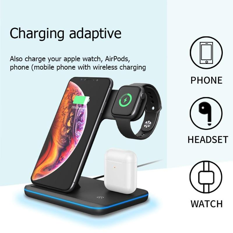 Image 3 - 3 in 1 Charging Dock Holder Stand Charger Station with lightning  for iPhone iWatch Airpod Wireless charger for xiaomi smartphoneMobile  Phone Chargers