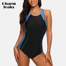 Charmleaks Ladies One Piece Sports Swimsuit Women Sports Swimwear Bikini Backless Beach Wear Bathing Suits Monokini