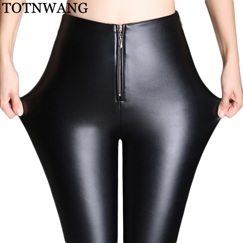 TOTNWANG Winter warm women Zippers faux leather   pants     capris   PU botton elastic high waist stretch Plus size pencil   pants   female