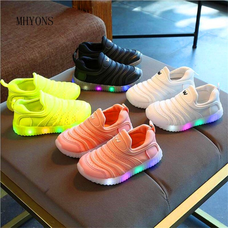 MHYONS 2019 Childrens LED sports shoes mesh shoes breathable childrens sports shoes baby girl boy light shoes light 21-30MHYONS 2019 Childrens LED sports shoes mesh shoes breathable childrens sports shoes baby girl boy light shoes light 21-30