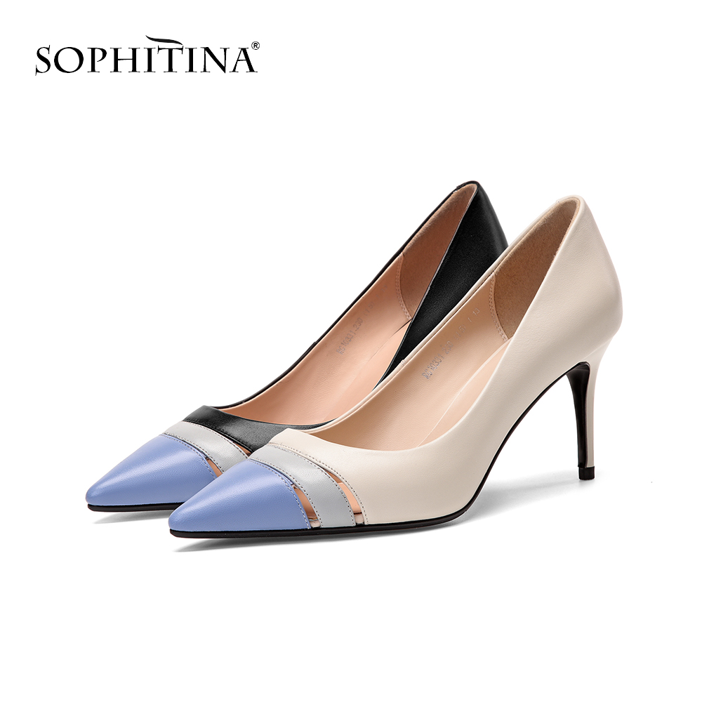 SOPHITINA Fashion Hollow Women s Pumps Explosion High Quality Cow Leather Elegant Shoes Sexy Pointed Toe