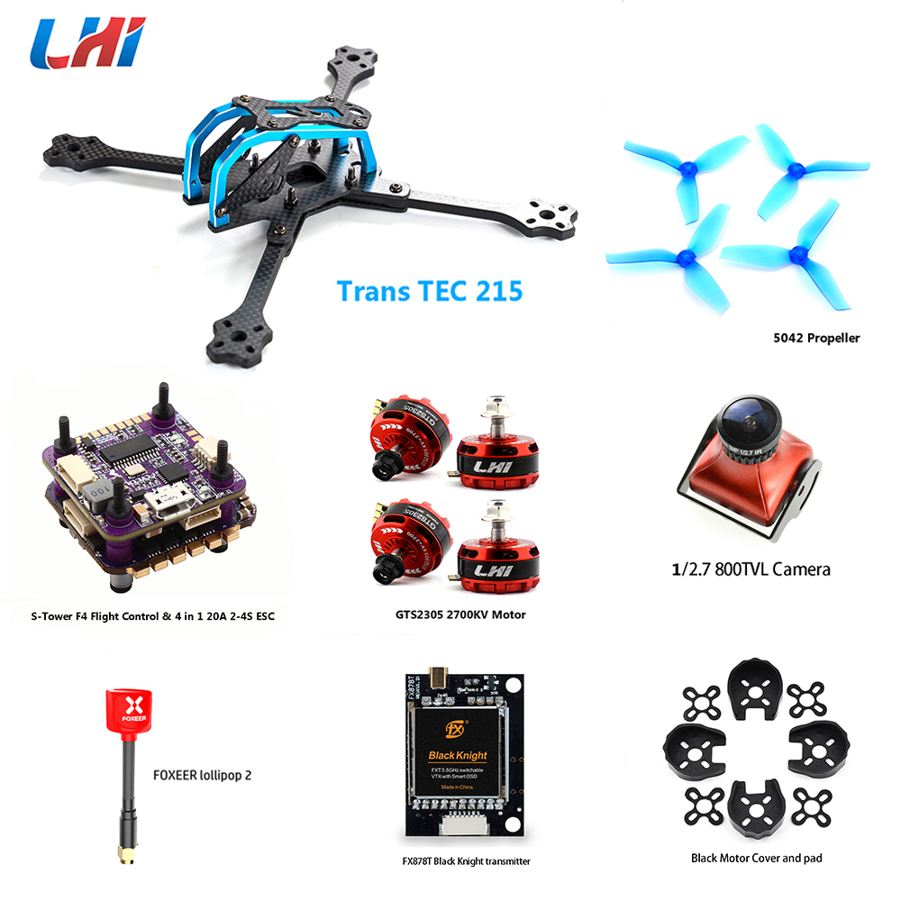 TransTEC 215 drone kit with FPV Camera S-Tower 4 in 1 20A ESC F4 flight controller&LHI 2305 brushless motor for quadcopter frame original emax f4 magnum all in one fpv stack tower system f4 osd 4 in 1 blheli s 30a esc vtx frsky xm rx