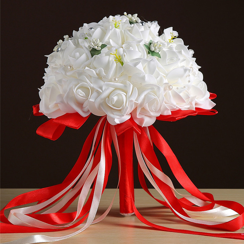 Wedding Party Artificial Decorations Artificial Flowers Bridal wedding Bouquet White Red Silk Ribbon White Rose Bouquet