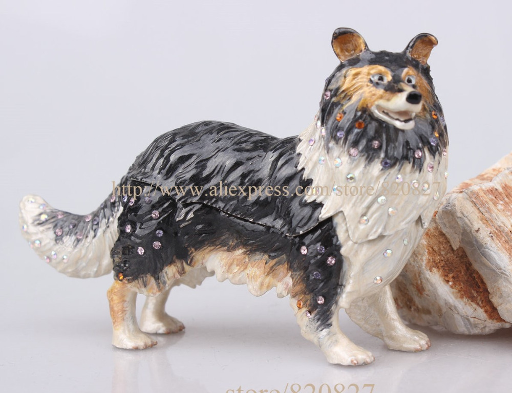 Sheepdog Sheltie Puppy Bejeweled Enamel Jeweled Jewelry Trinket Box Golden Dog Figurine Handcrafted Bejeweled Pewter Trinket Box