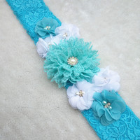 Customized Beautiful Blue Chiffon Flower Maternity Sash Belt Pregnancy Photo Props Wedding Sash Baby Shower Mom