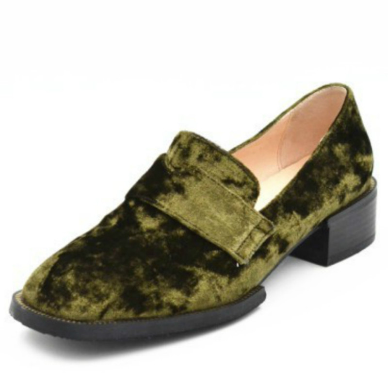 ФОТО handsome style flock up real pig genuine leather liner loafer shoes 2017 black army green slip on fashion ladies spring flats