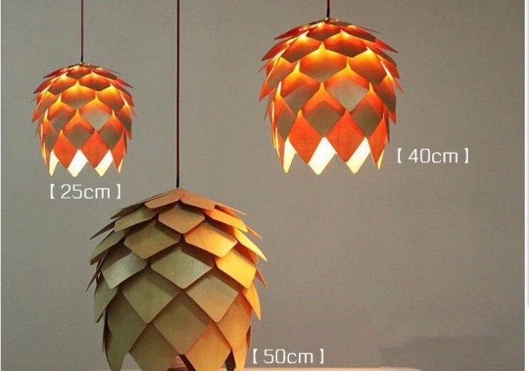 Moderne Art CHÊNE En Bois Pomme De Pin Pendentif Lumières Suspendus Bois PH Artichaut Lampes Salle À Manger Restaurant Rétro Luminaires Luminaire