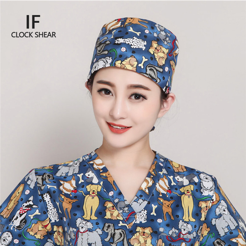 IF cotton printing animal Pet doctor hat men and women beauty salon work cap Operating room hat doctor nurse dental
