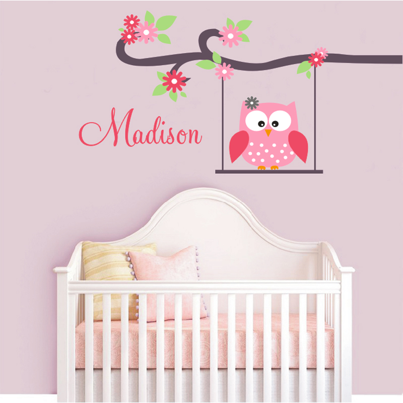 cute owl monogram custom name childrens nursery wall decals vinyl lettering wall art great for
