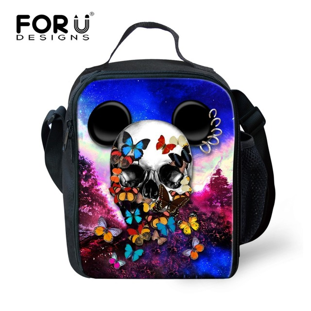 FORUDESIGNS Cartoon 3D Skull Kids Lunch Bag Insulated Chilren School Lunch Box Office Ladies Thermal Bag Girls Lunch Tote Bags