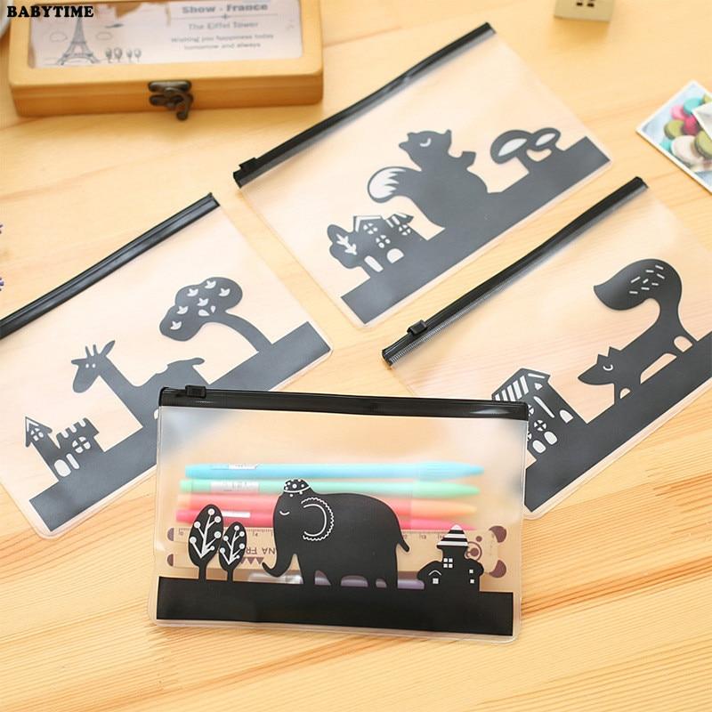 BABYTIME Online Store 2 PCS Korea Stationery Creative Edge PVC Envelope to Receive Bag Cute Squirrel Elephant Giraffe Translucent Folder