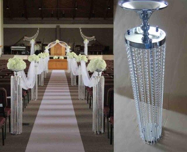 120cm H 20cm W Aisle Crystal Wedding Road Lead Silver Flower Stand