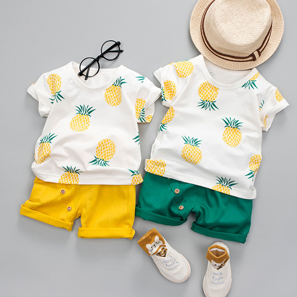 2019 New Fashion Children Girls Boys Clothes Suit Toddler Baby Kids Boys PineappleT shirt Tops Solid Short Casual Outfit Set-in Clothing Sets from Mother & Kids on AliExpress
