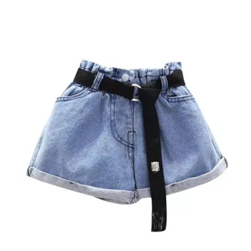 Children Clothing Summer Kids Girls Jeans   Shorts   with Black Belt Cowboy Kids Casual Hot   Short   Pants Fashion Pocket Denim   Shorts