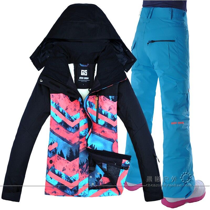 Gsou veste de Ski de neige + pantalon de Ski en plein air ensemble de snowboard pour les femmes vêtements de randonnée ou de Camping de haute qualité femme Ski Suit2018