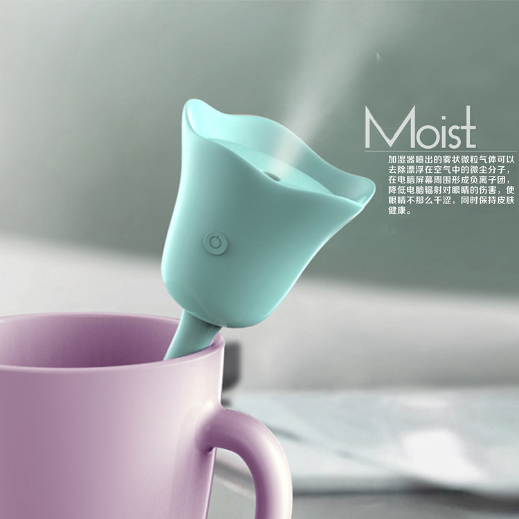 tulip mini foggy purifier water steam humidifier with USB port for car bedroom home office