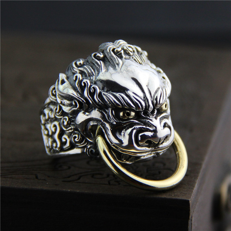 C&R 925 Sterling Silver Rings men Vintage Lion Head gold openingrings male Carved Pattern exaggerated Fine Jewelry size 9-12 fashionable pink cartoon lion and handgun pattern 9 5cm width tie for men