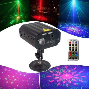 LED Club Disco DJ Party Light Red Green Laser Projector Lights with 16 Patterns Sound Control LED Xmas stage Projector Light tiptop tp e36 professional club dj disco projector stage laser light party green red voice control 20w shaking glass laser beam