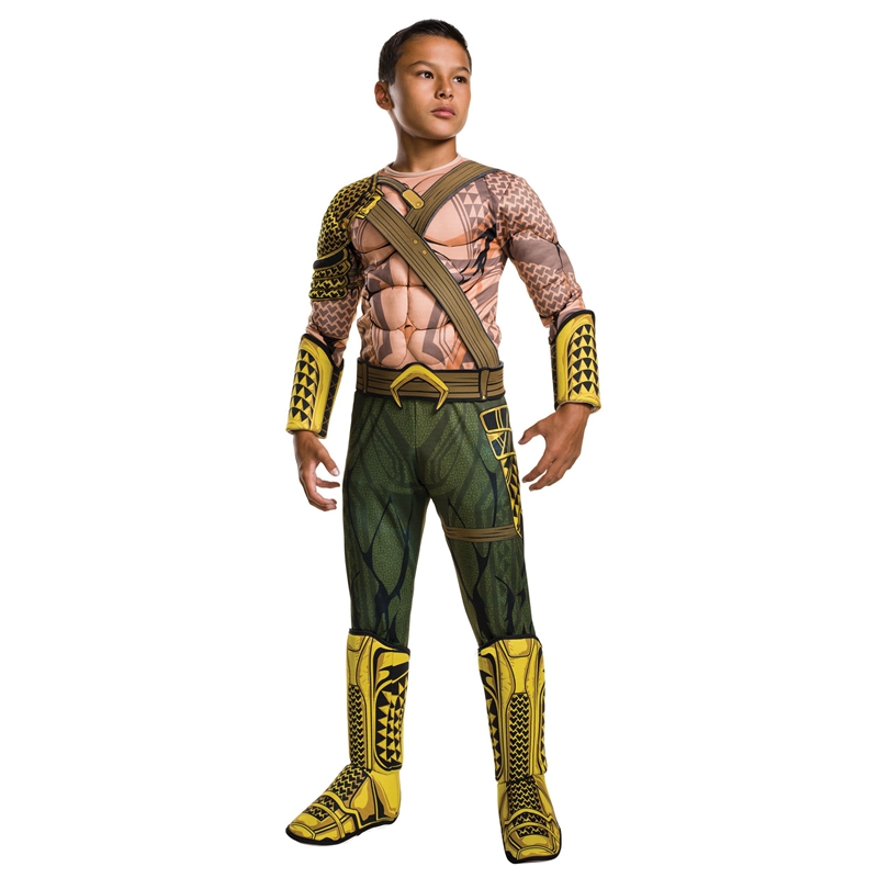 2018NEW ARRIVAL Deluxe Child Muscle Dawn Of Justice Aquaman Halloween Costume Boys DC Justice League Superhero