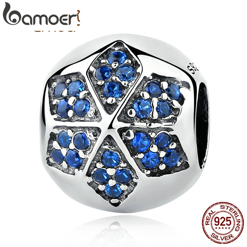 BAMOER Authentic 925 Sterling Silver Blue Crystals Flower Round Bead Charms fit Bracelets Women Beads & Jewelry Makings SCC103BAMOER Authentic 925 Sterling Silver Blue Crystals Flower Round Bead Charms fit Bracelets Women Beads & Jewelry Makings SCC103