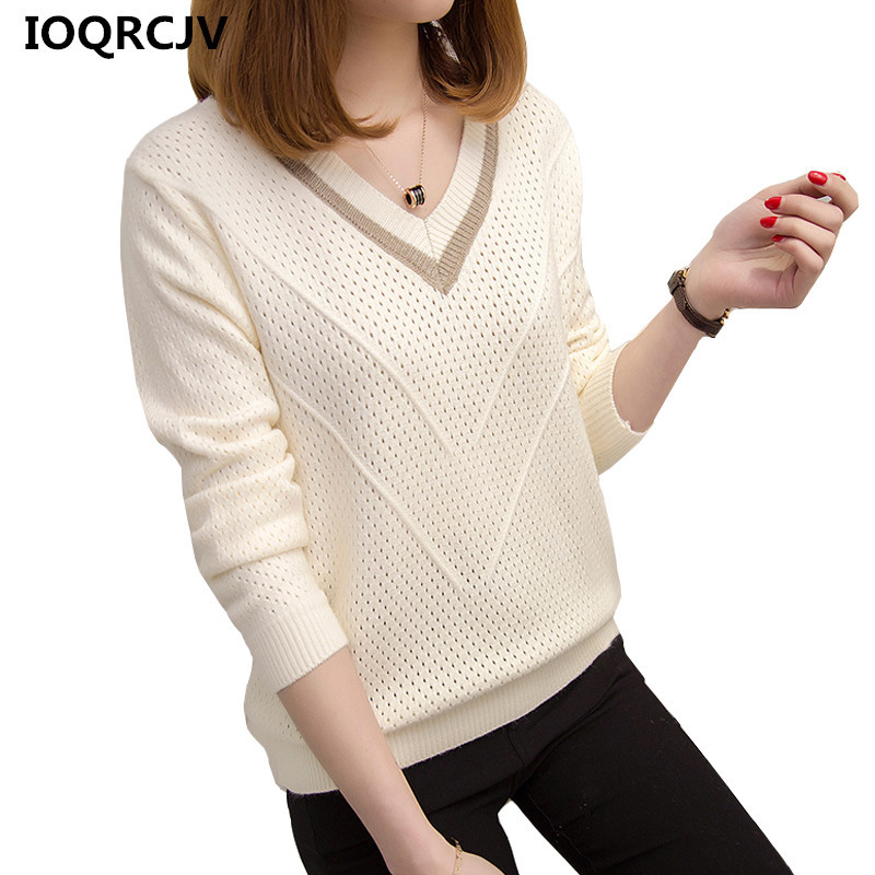 2019 New Autumn Winter Sweater Women Jumper Hollow Out V-neck Loose Knitted Pullover Sweater Long Sleeve Female Pull Femme <font><b>R307</b></font> image