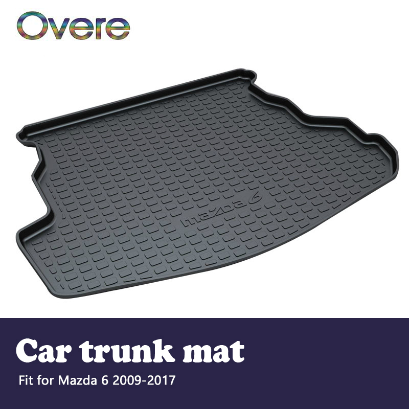 Overe 1Set Car Cargo rear trunk mat For Mazda 6 2009 2010 2011 2012 2013 2014 2015 2016 2017 Boot Tray Anti-slip mat Accessories areyourshop auto cargo mat boot liner tray rear trunk sticker dog pet covers for kia soul 2009 2010 2013 car covers
