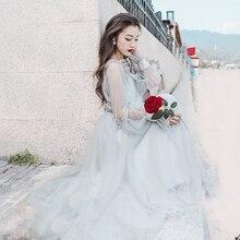 Новинка, женское модное платье с оборками и глубоким вырезом, с длинным рукавом, прозрачное Сетчатое длинное платье, сказочное пляжное платье, vestidos, летнее платье