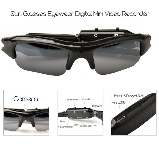 Lightdow Mini Sun Glasses Eyewear Digital Video Recorder Glasses Camera Mini Camcorder Video Sunglasses DVR 3