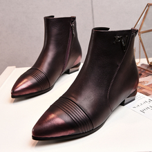 Women's Autumn Gradient Color Ballet Flats Ankle Boots Brand Designer Genuine Leather Short Booties Shoes for Women Footwear Hot