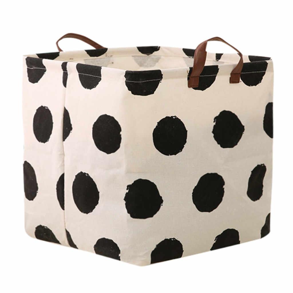 Desktop Storage Basket Cute Printing Waterproof Organizer Cotton Linen Sundries Storage Box Underwear Storage Bag z0523#G30