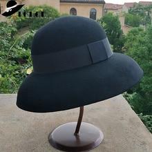 Crushable Fedora ผู้หญิงสไตล์วินเทจหมวกผ้าขนสัตว์บริสุทธิ์ 100% หมวกสีดำสีเทากว้าง Brim หมวก Fedora กับ BAND