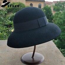 Zgniatalna sukienka Fedora kobiety w stylu Vintage kapelusz 100% czysty kapelusz z filcu wełnianego czarny szary Fedora z szerokim rondem kapelusz z prostym paskiem