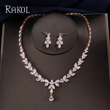 RAKOL Luxury Sparking Brilliant Cubic Zircon Necklace Earrings Wedding Bridal Jewelry Sets Dress Accessories Bijoux RS01809K