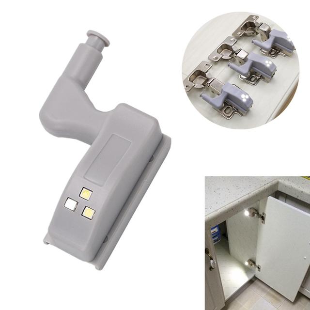 Newest 2/4/6 Pcs Inner Hinge LED Sensor Light Battery Operated Night Lights for Cabinet Closet Wardrobe @8 JD9