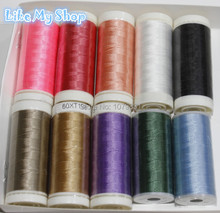Free shipping high tenacity 150D/3 polyester filament sewing thread beading thread crocheting yarn 10 different color
