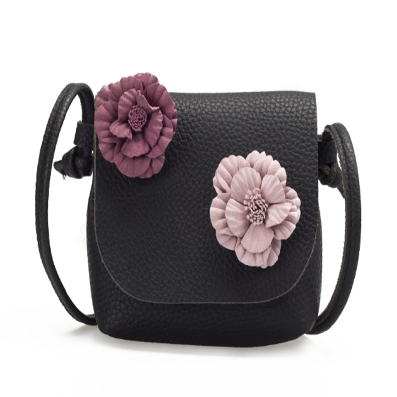 Hot Fashion Baby Girls Floral Shoulder Bag Kids Toddler Messenger Bag Crossbody Flowers Coin Purse Square Leather Strap Bags