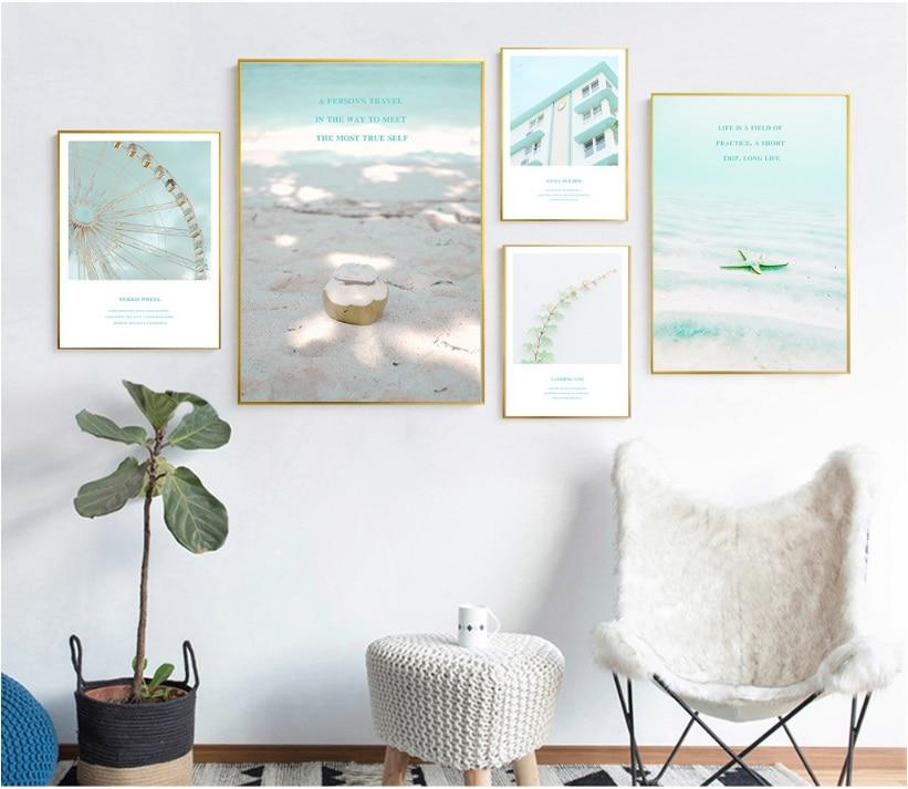 Hot Sale Nordic Pink Blue Summer Seaside Landscape Poster Print Wall ...